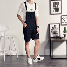 The summer male Korean washed denim shorts British suspender shorts leisure shorts pants five feet sling
