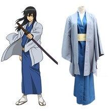 купить New Anime Gintama Katsura Kotarou Cosplay Costume Japanese Kimono Uniform Outfit Adult Halloween Costumes for Women/Men S-XXL дешево