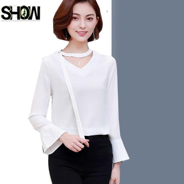 f866232cf829de 4 Kolory Szyfonowe Bluzki Koszule Hot Kobiety Moda Flare Rękawem Elegancki  Temperament Pani Urząd Pracy Żółty