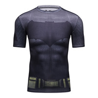 2016 Marvel Batman Compression 3D Printed Shirt Fitness Tights Crossfit Quick Dry Short Sleeve T Shirt