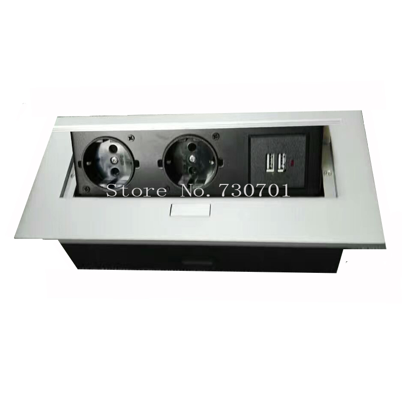 2*EU power +2*charge USB,silver/black ,Thin edge fillet panel / Thick edge right angle panel,for meeting room/furniture socket