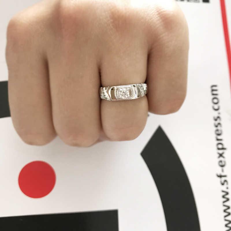 ฟรีส่งใบรับรอง! 100% Original Solid 925 แหวนเงินของขวัญธรรมชาติ 0.5Ct CZ Zircon แหวนเครื่องประดับ L077