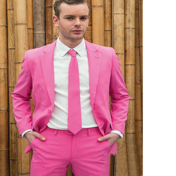 Fashion classic men's suit pink lapel single-breasted men's ball gown and groomsmen dress (jacket + pants) custom made