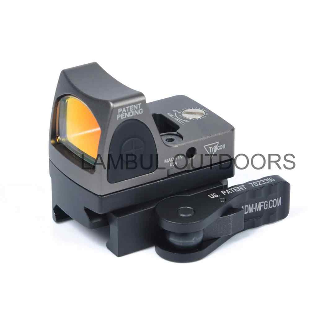 LAMBUL Trijicon RMR Mount Mini Vista de punto rojo QD Co-testigo de montaje Riser placa Anti retroceso 20mm Weaver riel Picatinny Rifle