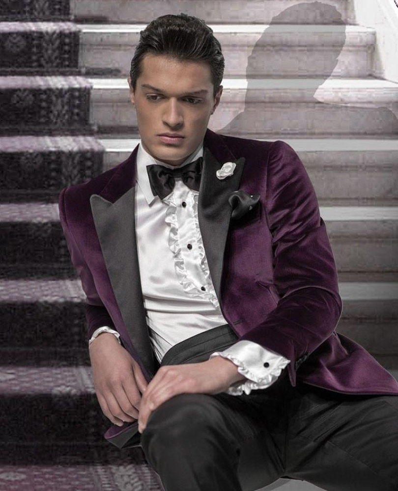 cd033dba2761 2019 Mens Suits Purple Wedding Suits For Men Peaked Lapel Groomsmen Suit  One Button Tuxedos For Men Velvet (jacket+pants)-in Suits from Men's  Clothing on ...