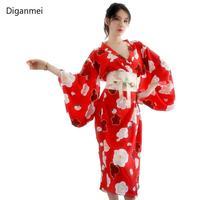 Diganmei 2019 Red sexy kimonos dress Japan style Cherry blossoms cosplay Japanese traditional kimono woman bathrobe Nightgown