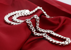 Image 3 - Men choker necklace silver mens punk style 7.5mm 51cm whip chain necklace Fashion cool boy 925 sterling silver jewelry pendant