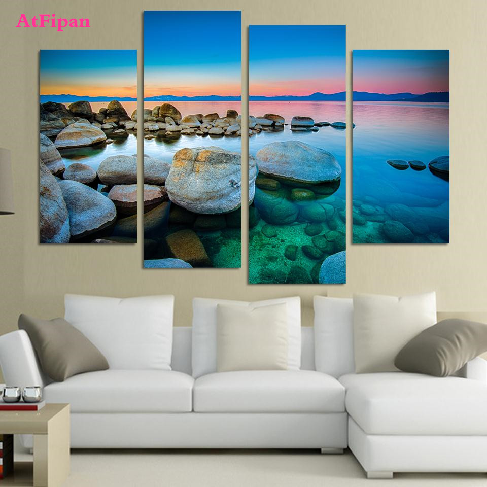 AtFipan The Sea And Stone Canvas Painting HD Modular Pictures 4Pcs Unframed  Modern Home Cuadros Decoration Pop Wall Art Posters