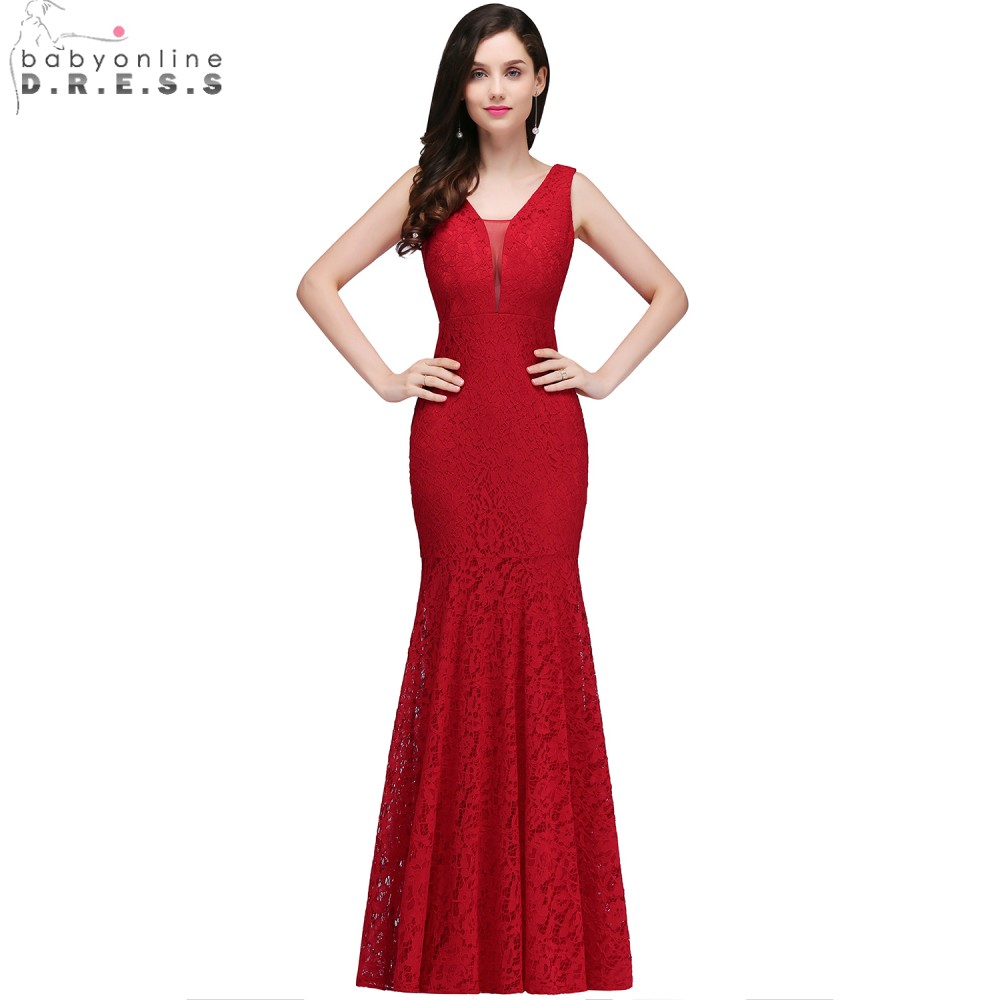 Babyonline Red Lace Mermaid   Evening     Dresses   2019 Sexy V-Neck Formal   Evening   Gowns Long Party   Dresses   vestido de festa