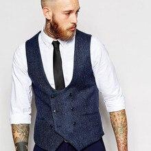 Latest Coat Pant Designs Navy Blue Double Breasted Tweed Men Vest Waistcoat Fash