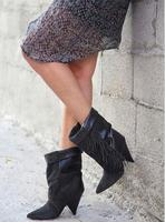 Frauen Autumen Winter Grau Wildleder Fransen Stiefeletten Spitz Gestapelt Ferse Quaste Kurze Stiefel Frauen Größe 42 botas mujer