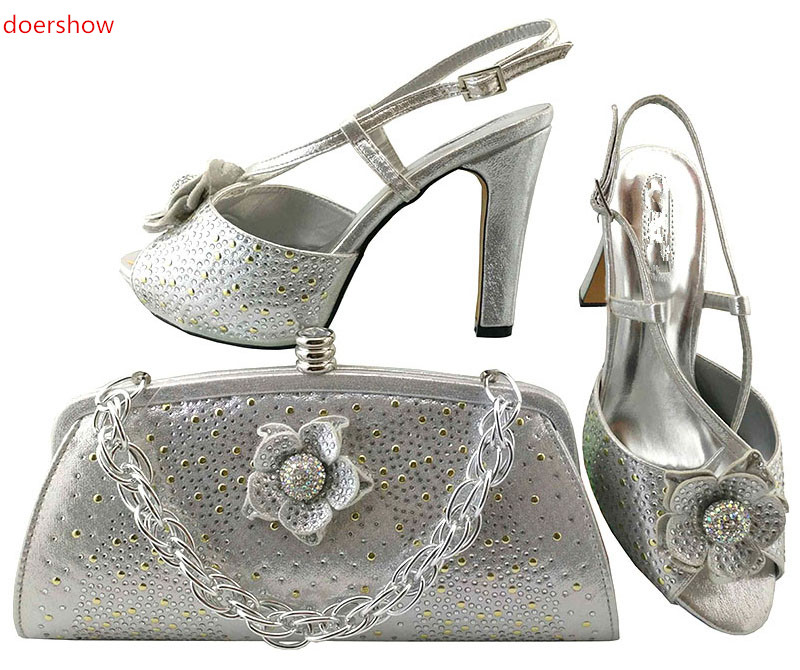 doershow Women Shoe and Bag To Match for Parties African Shoe and Bag Set for Wedding In Women white High Quality LULU1-23 пелевин в ананасная вода для прекрасной дамы page 3