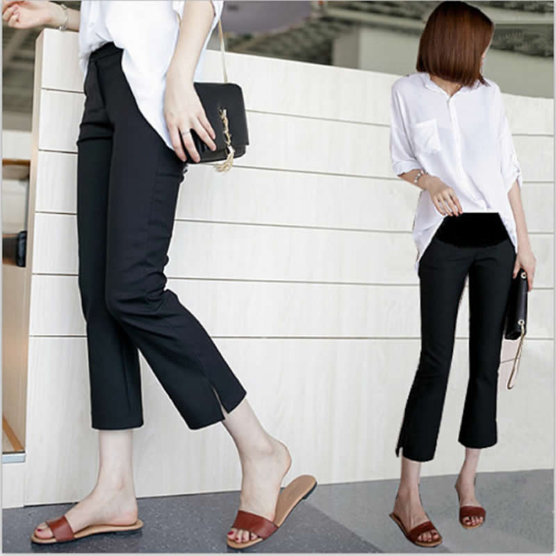 2019 Pregnancy pants Fashion straight leg office trousers maternity woman clothes Work casual pants nine length slit blank pants