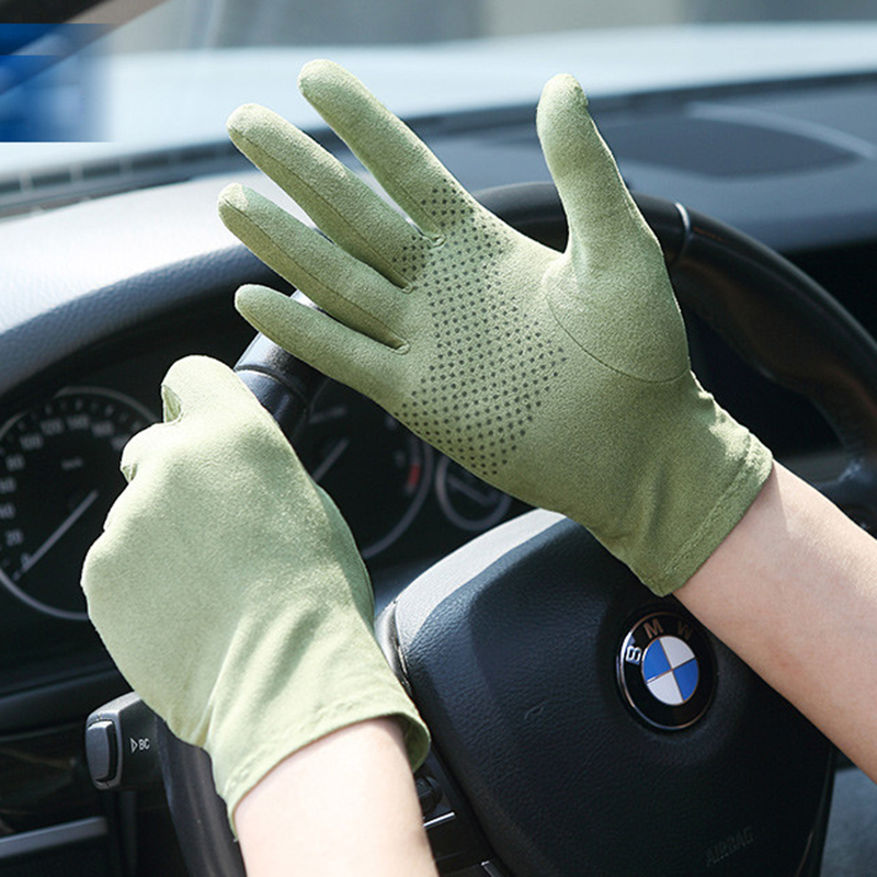 New Suede Sun Protection Gloves Male Female Summer Thin Short Style Anti-Slip Driving Gloves Sweat Absorption Mittens SZ008W