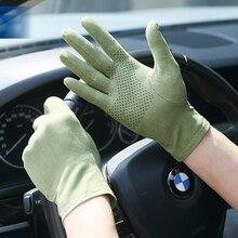 Nieuwe Suede Zon Bescherming Handschoenen Mannelijke Vrouwelijke Zomer Dunne Korte Stijl Anti Slip Rijden Handschoenen Zweet Absorptie Wanten SZ008W