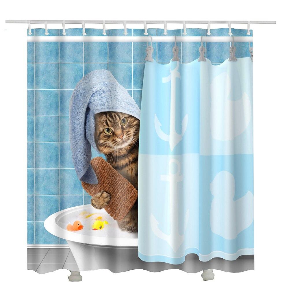 Cat Printed Shower Curtain Fabric Waterproof New Cortina