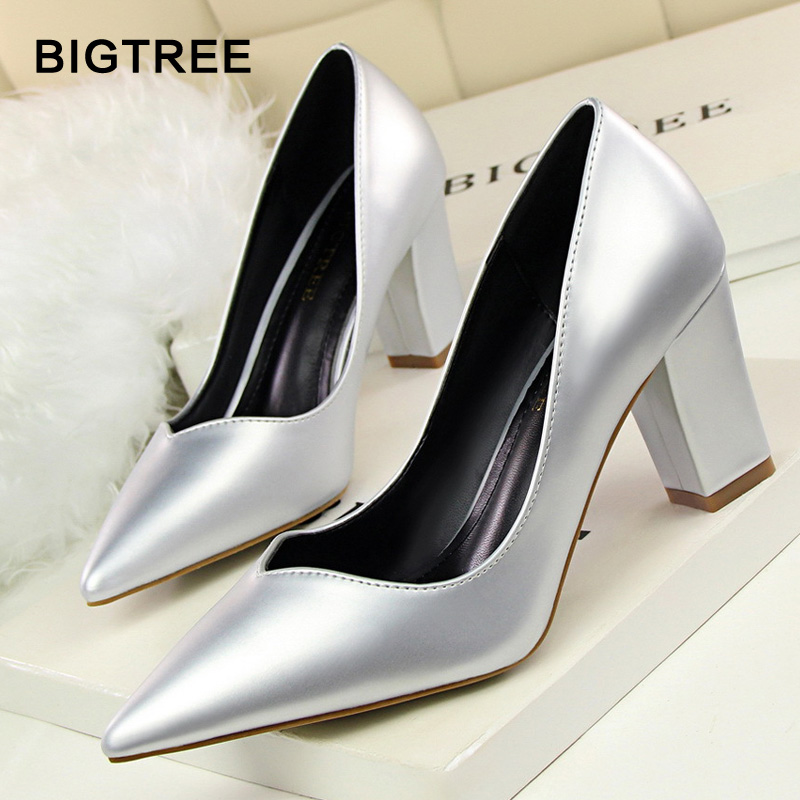 BLGTREE Square Heel Women's Pumps PU Leather Women High Heels Fashion Sexy High Heels Shoes Pointed Toe Shallow High Heels women s high heels women pumps sexy bride party square heel square toe rivets high heel shoes