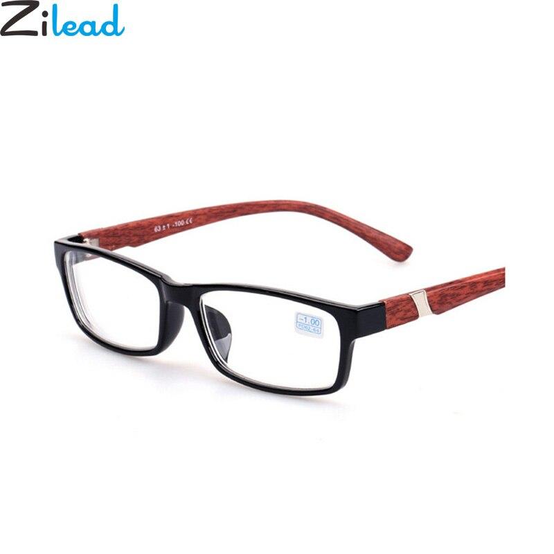 Zilead New Wood Grain Anti-blue Light Myopia Glasses Brand Full Frame Nearsighted Eyewear Short-sight For Women&Men-1.0to-6.0