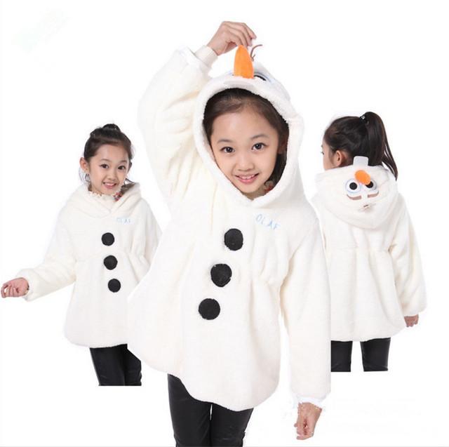 NOVO! menino & gilrs do bebê jaqueta de roupas meninas 100% algodão dos desenhos animados das crianças casacos de inverno, casaco fashion OLAF