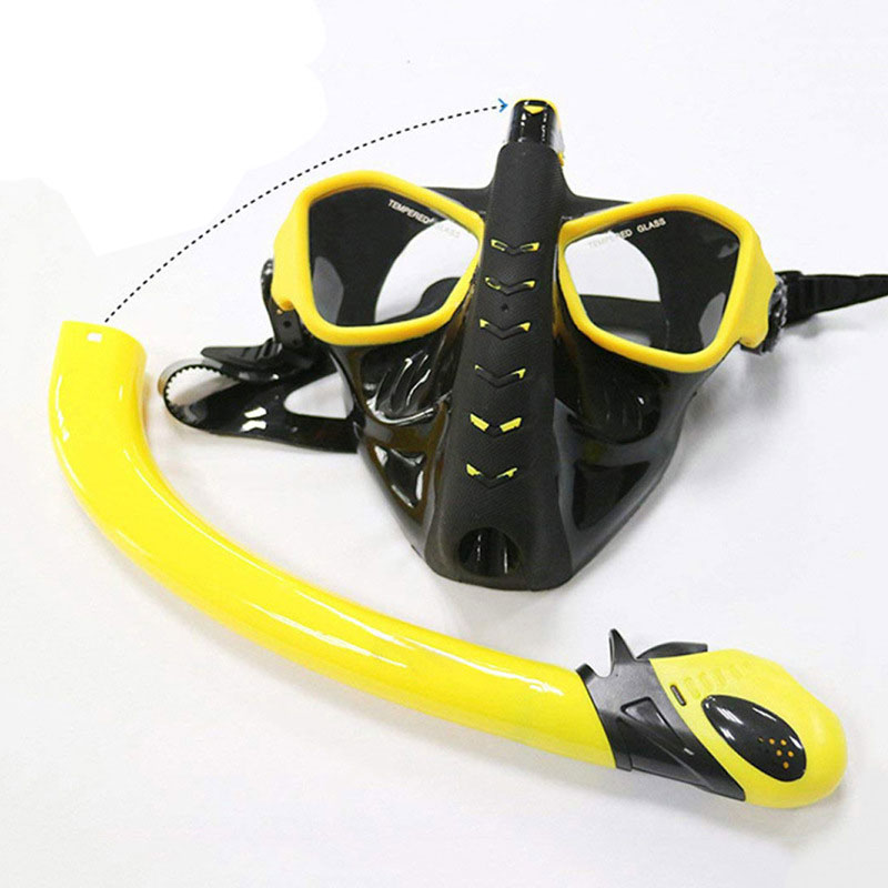 Snorkeling Mask Snorkel Tube Set Anti-fog Swimming Diving Goggles With Easy Breath Dry Snorkel Tube Snorkeling Goggles