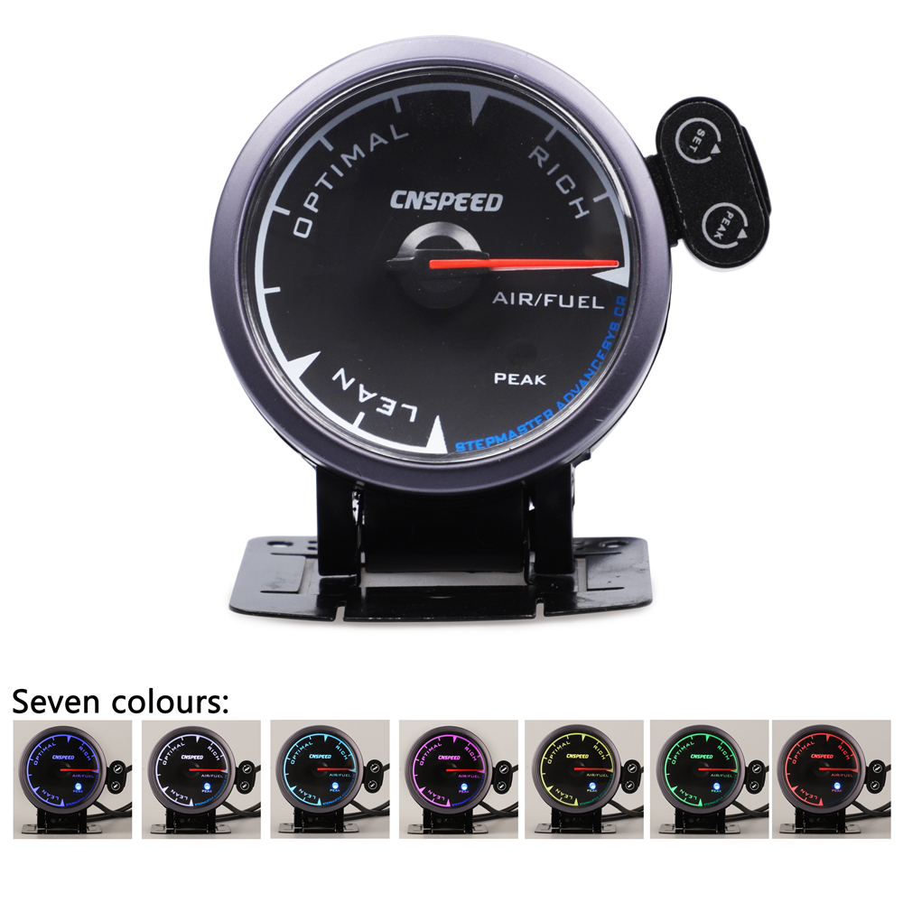 CNSPEED Shark pin 2.5 60mm Auto Air Fuel Ratio Gauge Car Meter Black Face 7 Colors LED With Holder
