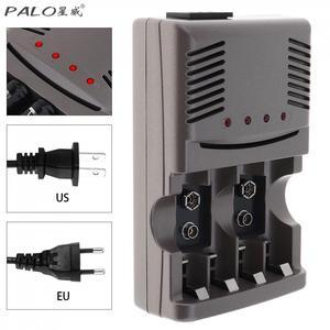 Image 1 - Светодиодный светильник PALO C819, умное зарядное устройство для никель металлогидридных аккумуляторов, аккумуляторных батарей типа AA/AAA, для литий ионных батарей, 9 В, 6F22, вилка стандарта США и ЕС