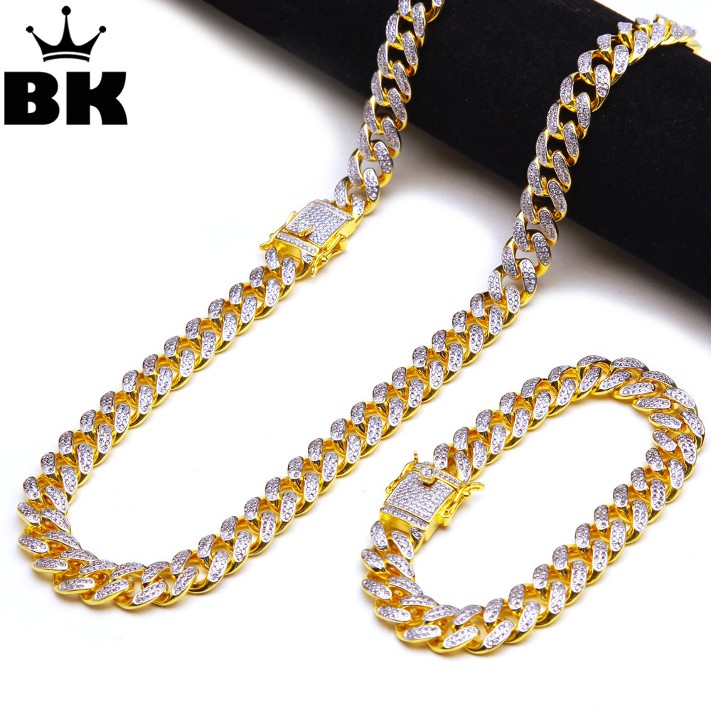 THE BLING KING 13.5mm CZ Cuban Chain & Bracelet Set Gold, Silver, Double Color Hip Hop Micro Paved Cubic Zirconia Shiny Copper king double krn a5t 5 zirconia ceramic utility knife w sheath red white