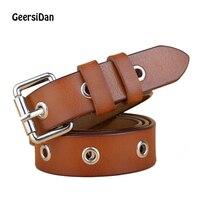 GEERSIDAN 2017 New High Quality Women Belt Thin Genuine Leather Belt Woman 3 Color Fashion Rivet