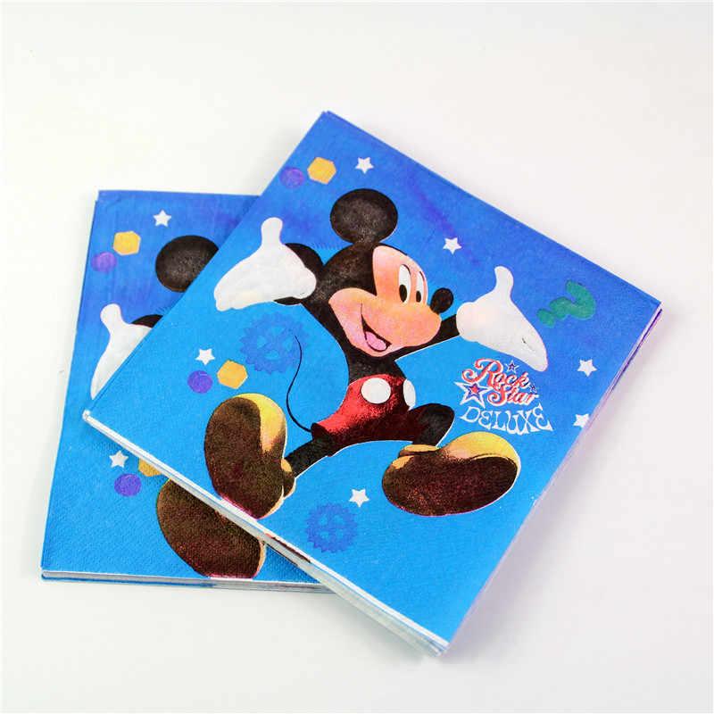 Para 20 Crianças Meninos Aniversário Fontes Do Partido Decoração de Festa Mickey Mouse conjuntos de Pratos De Papel Copos Fontes Do Chuveiro de Bebê 90 pcs