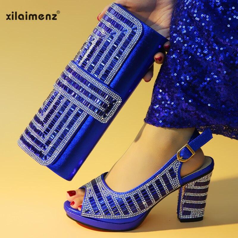 Royal Blue Latest Design Shoes Women Luxury 2019 Nigerian Women Wedding  Shoes and Bag Set Decorated 51d899fa1e50