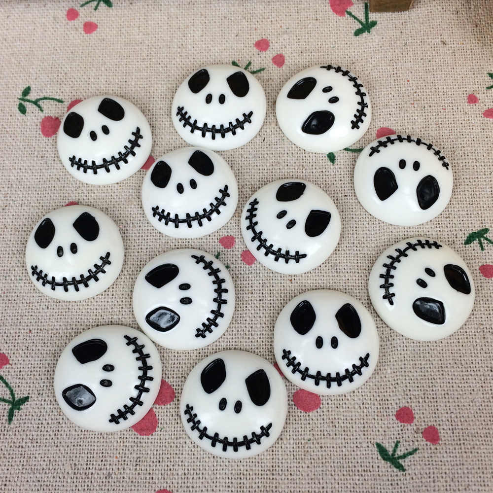 10Pieces Flat Back Resin Cabochon Skeleton For Halloween DIY Flatback Embellishment Accessories Scrapbooking Crafts:23mm