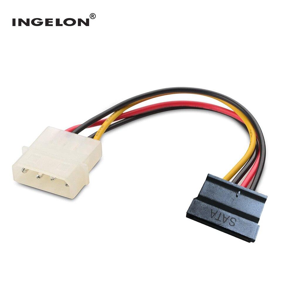 Ingelon sata cabo de alimentação molexe ide para serial ata adaptador de alimentação 4 pinos para 12 pinos cabo disco rígido sata para esata 6.9 polegada ssd cabo