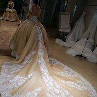 Real Photos Top Customized Crystal Champange Arab Wedding Dresses 2017 Puffy Shining Stones Arabic Girl Ball
