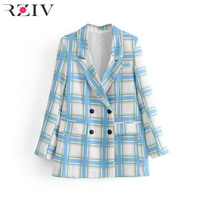 RZIV Spring Women's Suit Casual Plaid Double Breasted Suit