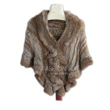 7COLORS Product real rabbit fur knitted cape ruffle hem rex rabbit fur cloak cape Women Genuine Knitted Fur Cape Shawl Wrap pearl beading asymmetric hem cape blazer