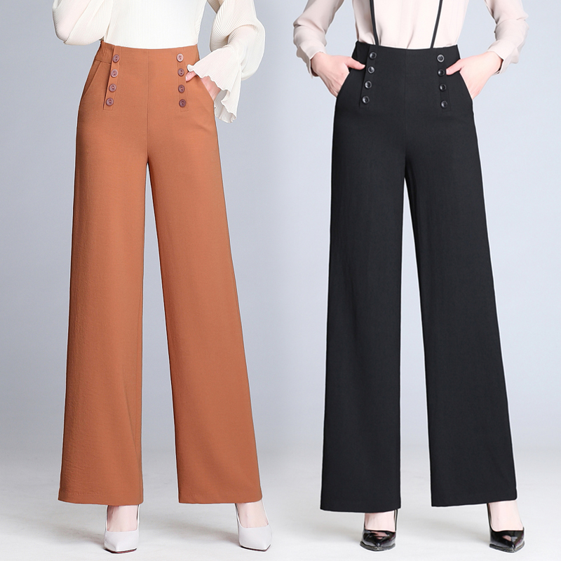 woman spring summer wide leg pants loose trousers 2018 new high waist straight wide leg pants white trousers Loose casual pants