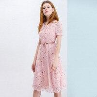 JINMIN 2019 Летние шифоновые платья для женщин Сладкий розовый вечерние платье повседневное ремень цветочный женское