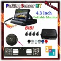 3 in 1 Car Parking 4 Sensors Backup Radar Rear System 4.3'' LCD Monitor & Russia License Plate Frame Parking Reverse Camera