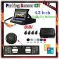 3 in 1 Car Parking 4 Sensors Backup Radar Rear System 4.3'' LCD Monitor & Russia License Plate Frame Parking Reverse Camera