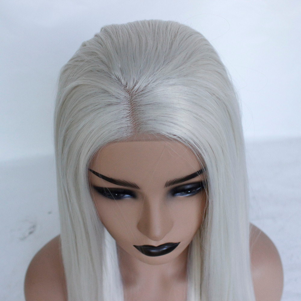 60 Platinum Blonde Glueless Synthetic Lace Front Wig Straight Heat Resistant Fiber Middle Part Lace Women Wig-70