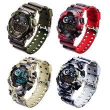 Deporte Para Hombre Impermeable LCD Digital Fecha Alarma De Goma De Cuarzo Analógico Reloj de Pulsera
