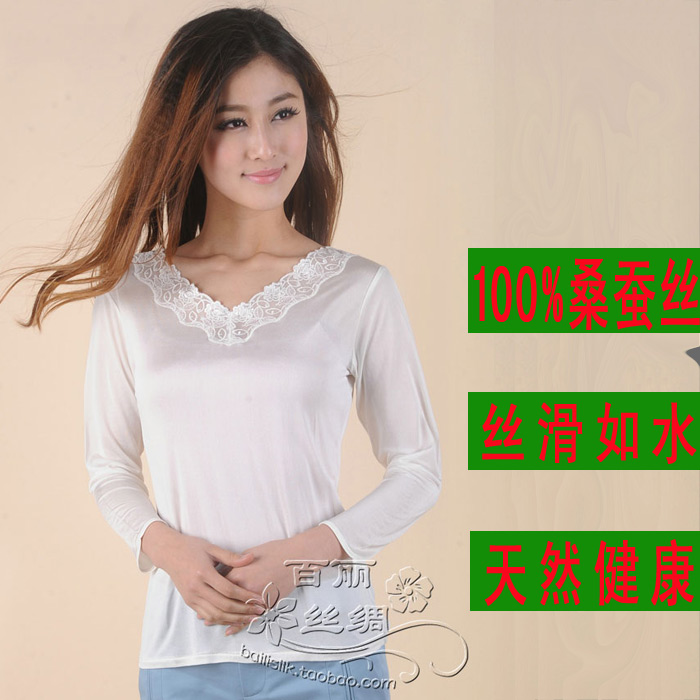 Comfortable mulberry silk basic font b shirt b font white lace V neck long sleeve thermal