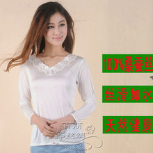 Comfortable mulberry silk basic shirt white lace V-neck long-sleeve thermal women's long-sleeve T-shirt
