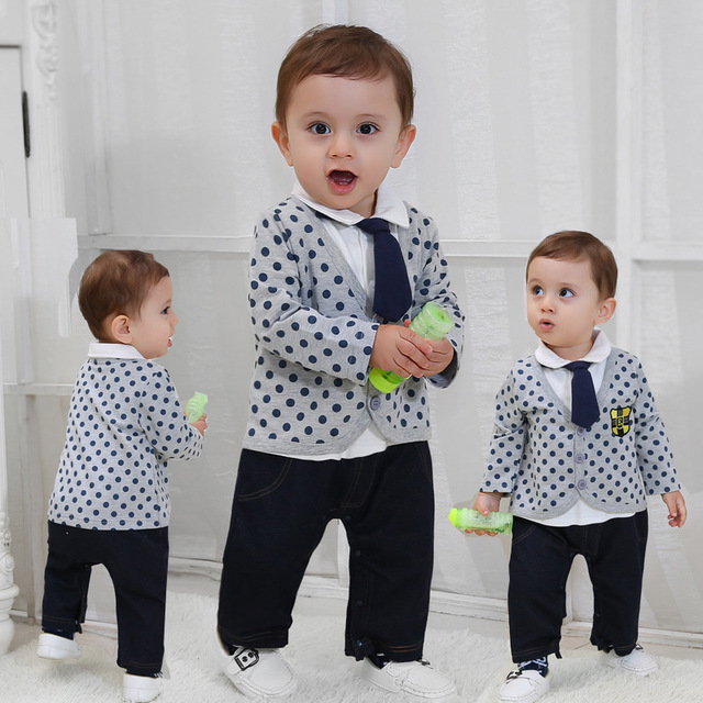 Spring High Quality Baby Boy Gentleman Romper Boys Polka Dot Jumpsuit Childrens Party Suit Birthday Clothes