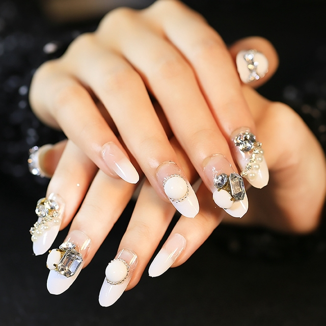 Oval White French Nails Large Stone Decoration Nail Art Tips Round
