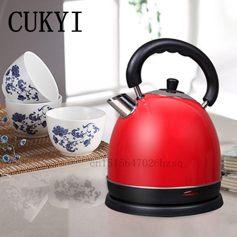 CUKYI stainless steel 1800W electric kettle household 2L Safety Auto-Off Function quick heating , red gold cukyi stainless steel 1800w electric kettle household 2l safety auto off function quick heating red gold