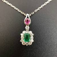 0 421ct 0 228ct 18K Gold Natural Emerald And Pendant Necklace Diamond Inlaid 2016 Factory Direct