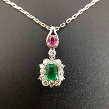 0.421ct+0.228ct 18K Gold Natural  Emerald  and Pendant Necklace Diamond inlaid 2016 Factory Direct New Arrival Fine Jewelry