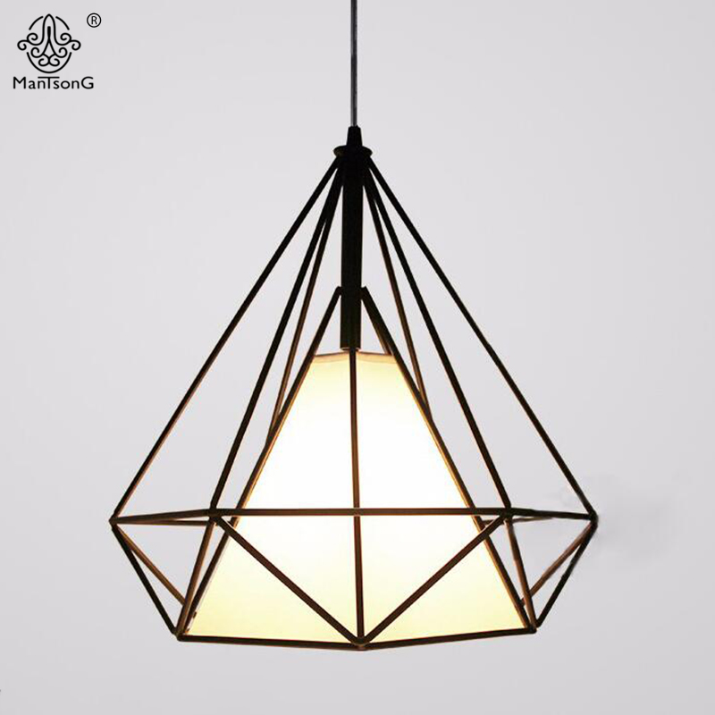 Pendant Lamp Simple Diamond Iron Cage Hanging Creative Lighting Black AC Industrial For Decor Cafe Bar Restaurant Home Lights vintage iron pendant light loft industrial lighting glass guard design cage pendant lamp hanging lights e27 bar cafe restaurant