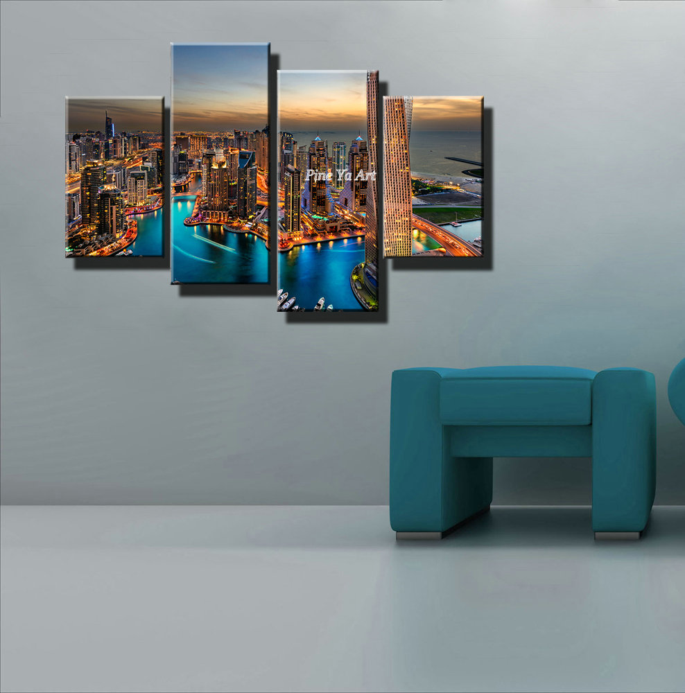 New York City Bedroom Decor Aliexpresscom Buy 4 Piece Canvas Prints Decorative New York
